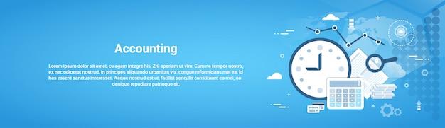 Bannière web horizontale de vérification comptable avec espace de copie Vecteur Premium