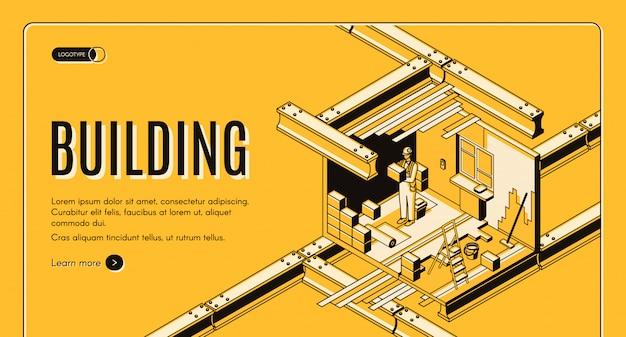 Bannière web isométrique entreprise de construction moderne entreprise Vecteur gratuit