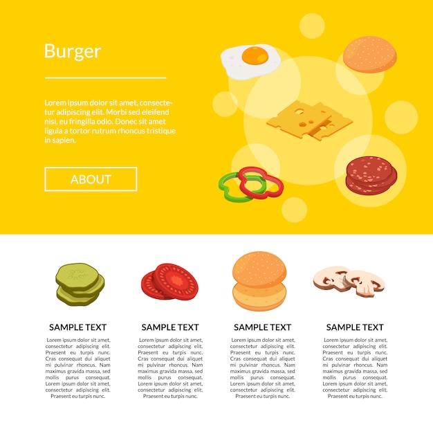 Bannière Web Isométrique Ingrédients Burger Vecteur Premium