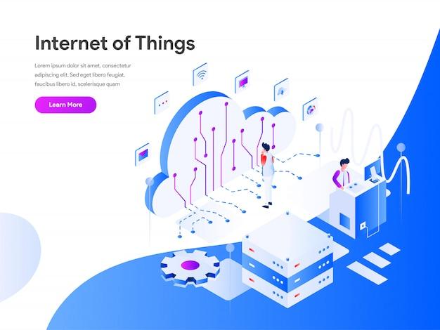 Bannière web isométrique de l'internet of things Vecteur Premium