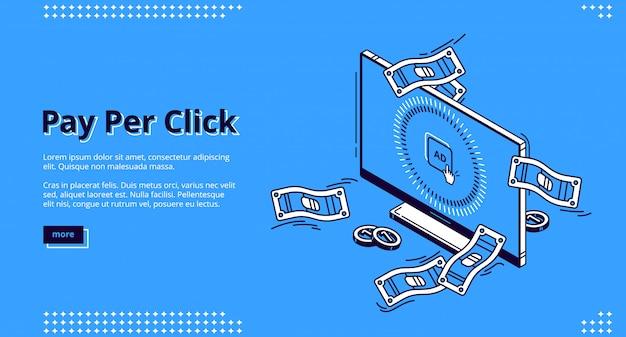 Bannière Web Isométrique Publicitaire Pay Per Click Vecteur gratuit