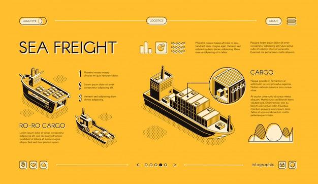Bannière web isométrique de transport de fret maritime, modèle de site web slider, horizontal avec ro-ro Vecteur gratuit