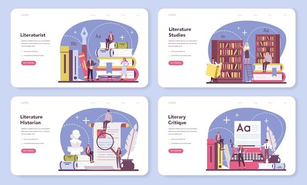 Bannière Web De Littératuriste Professionnel Ou Ensemble De Pages De Destination. Vecteur Premium