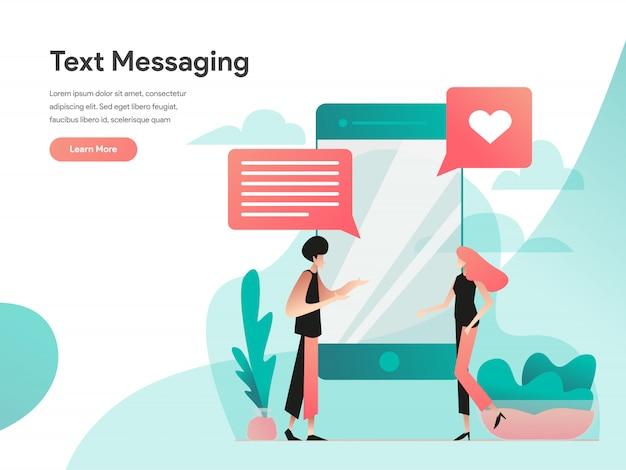 Bannière web de messagerie texte Vecteur Premium