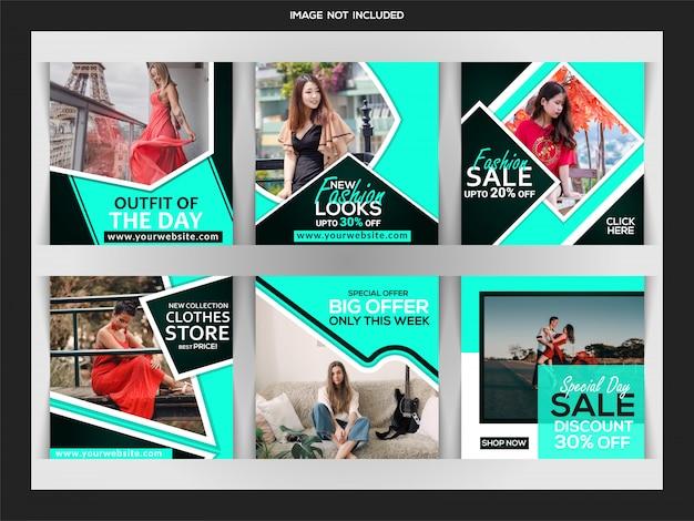 Bannière web de la mode pour les médias sociaux instagram post template Vecteur Premium