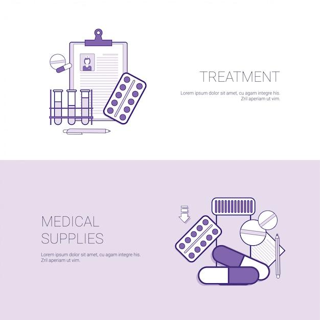 Bannière web de modèle de concept de fournitures médicales et de traitement avec espace de copie Vecteur Premium