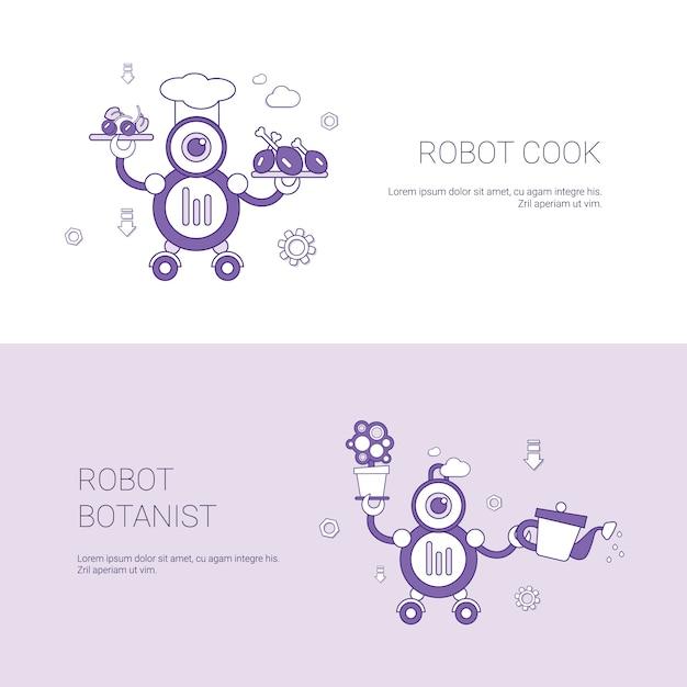 Bannière web de modèle de concept robot et cuisinier botaniste avec espace de copie Vecteur Premium