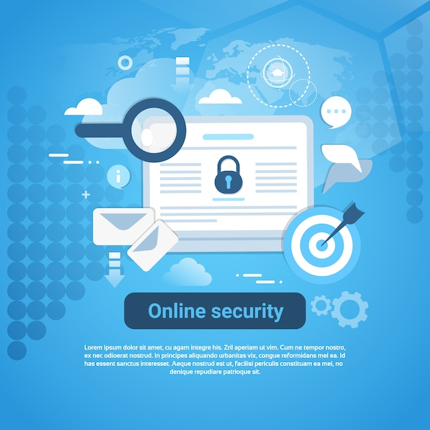 Bannière web de modèle de sécurité en ligne avec espace de copie Vecteur Premium