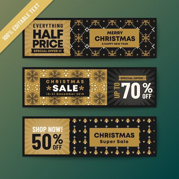 Bannière Web Noël Thème Couleur Or Vecteur Premium