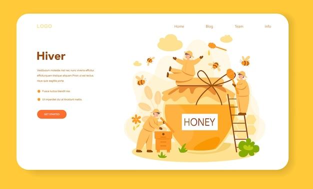 Bannière Web Ou Page De Destination D'hiver Ou D'apiculteur Vecteur Premium