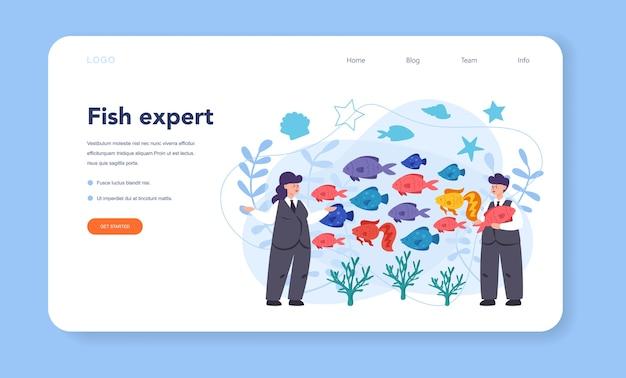 Bannière Web Ou Page De Destination De L'ichtyologue Vecteur Premium