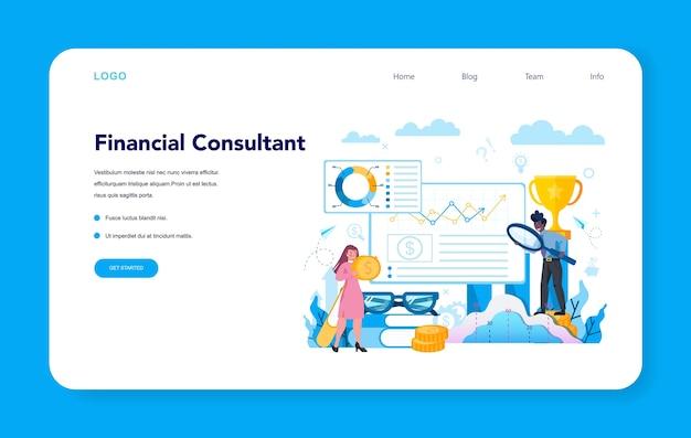 Bannière Web Ou Page De Destination Pour Analyste Financier Ou Consultant Vecteur Premium