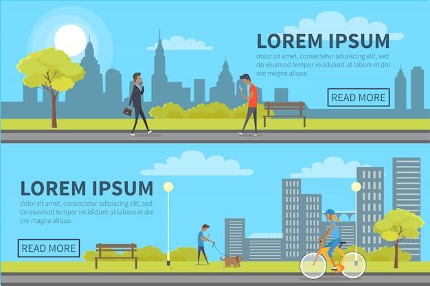 Bannière web de personnes passant du temps dans un parc avec des bâtiments Vecteur Premium