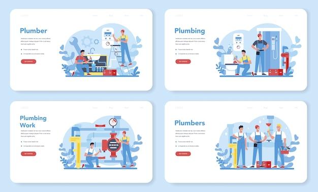 Bannière Web De Service De Plomberie Ou Ensemble De Pages De Destination. Réparation Et Nettoyage Professionnels Des équipements De Plomberie Et De Salle De Bain. Vecteur Premium