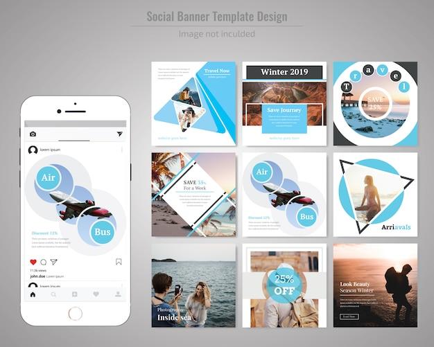 Bannière web sociale de remise de vente de produit pour l'hiver Vecteur Premium