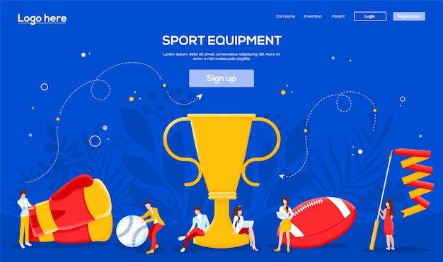 Bannière Web De Sports De Style De Vie, En-tête De L'interface Utilisateur, Entrez Dans Le Site. Caractère De Personnes Avec Des Objets Autour De La Coupe Gagnante. Vecteur Premium