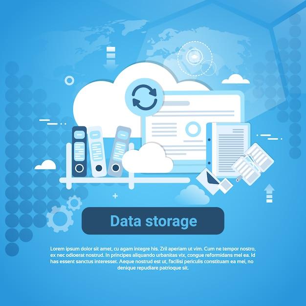 Bannière web de stockage de données avec espace de copie Vecteur Premium