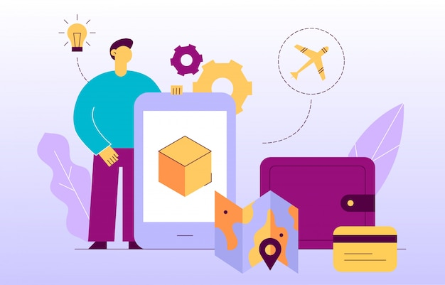 Bannière web vecteur livraison service design concept Vecteur Premium