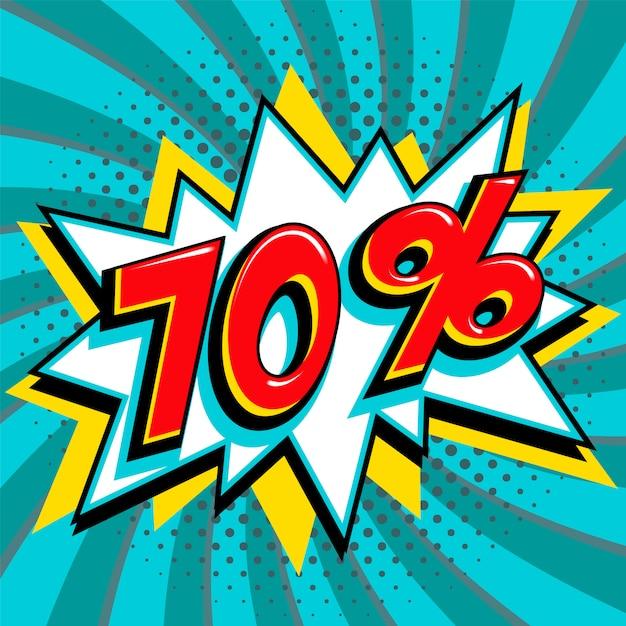 Bannière Web De Vente Bleu 70%. Bannière Promotion Promotion Rabais De Soixante-dix Pour Cent De Style Bande Dessinée Pop Art. Vecteur Premium