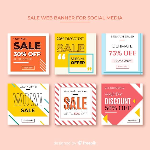 Bannière web de vente pour la collecte de médias sociaux Vecteur gratuit