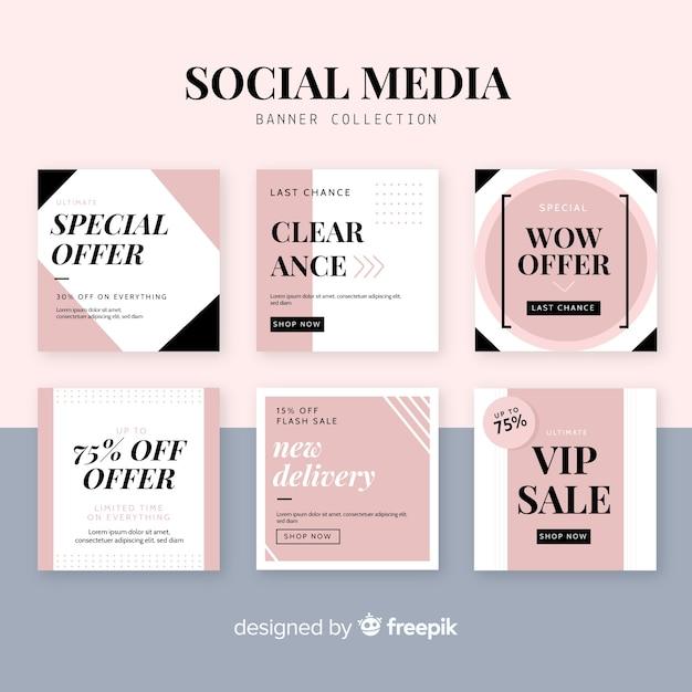 Bannière web de vente pour les médias sociaux Vecteur gratuit