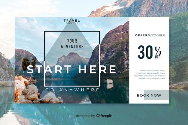 Bannière web de voyage avec photo Vecteur gratuit