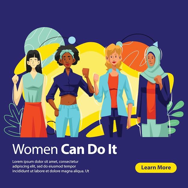 Bannière Women Power In Diversity, Vecteur Premium