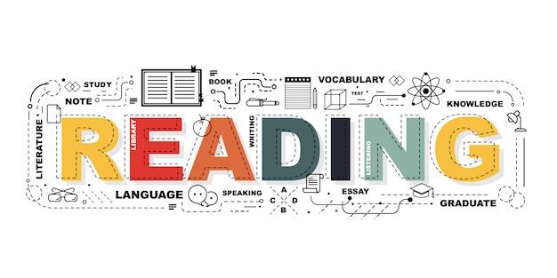 Bannière word reading Vecteur Premium