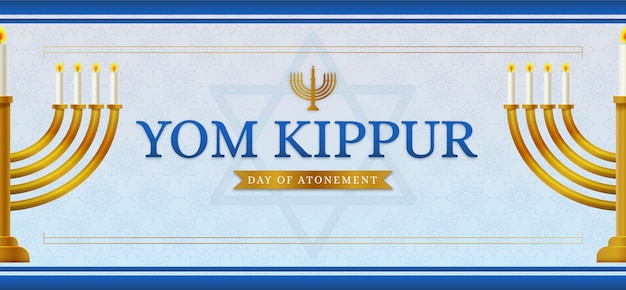 Bannière De Yom Kippour Avec Des Bougies Vecteur gratuit