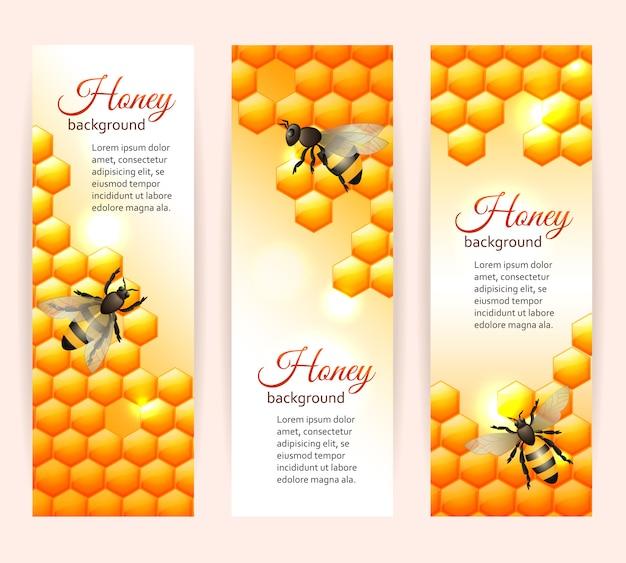 Bannières d'abeilles verticales Vecteur gratuit