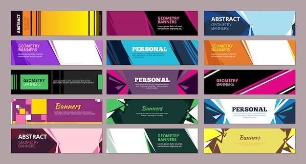 Bannières Abstraites Colorées. Formes Abstraites Géométriques Avec Place Pour Les Bannières De Formes Rectangulaires Et Triangulaires De Texte Vecteur Premium