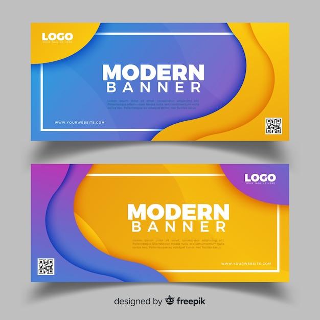 Bannières abstraites avec design plat Vecteur gratuit