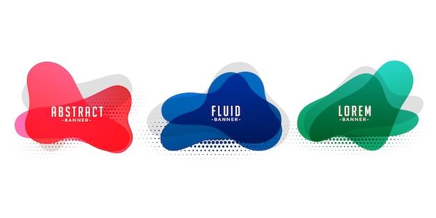 Bannières abstraites de forme liquide avec motif de demi-teintes Vecteur gratuit