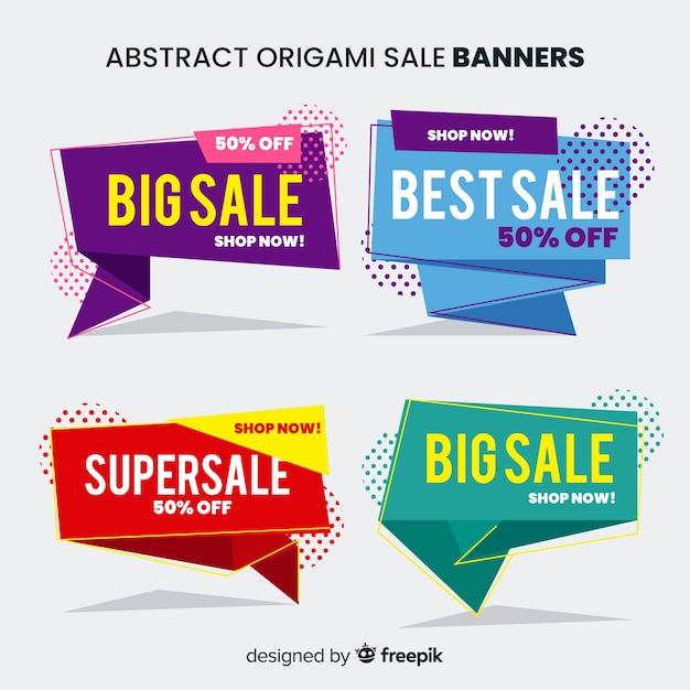 Bannières abstraites de vente d'origami Vecteur gratuit