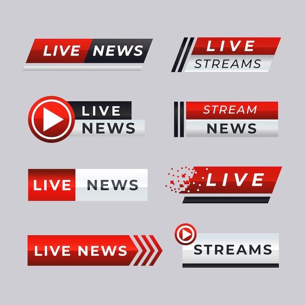 Bannières D'actualités En Direct Vecteur gratuit