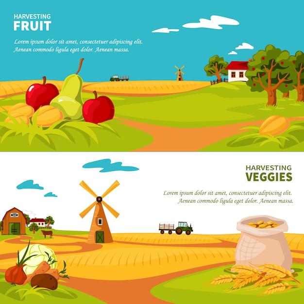 Bannières Agricoles Vecteur gratuit