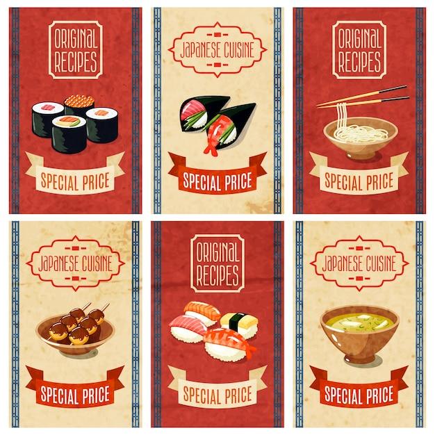 Bannières alimentaires asiatiques Vecteur gratuit