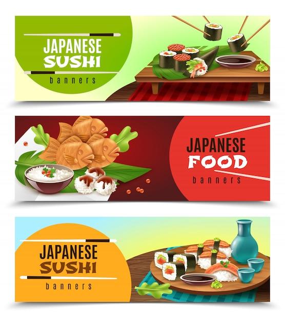 Bannières alimentaires japonaises Vecteur gratuit