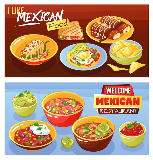 Bannières Alimentaires Mexicaines Vecteur gratuit