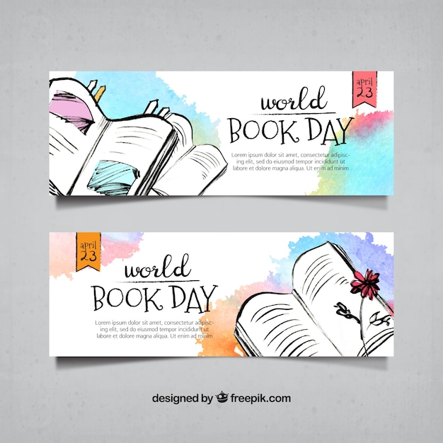 Bannières aquarelle de livres dessinés à la main Vecteur gratuit