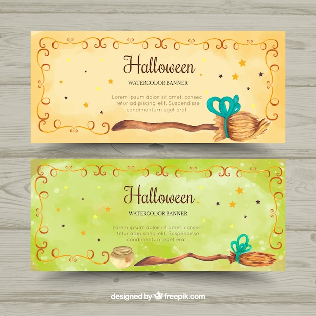 Bannières D'aquarelle Pour Halloween Avec Balais Vecteur gratuit