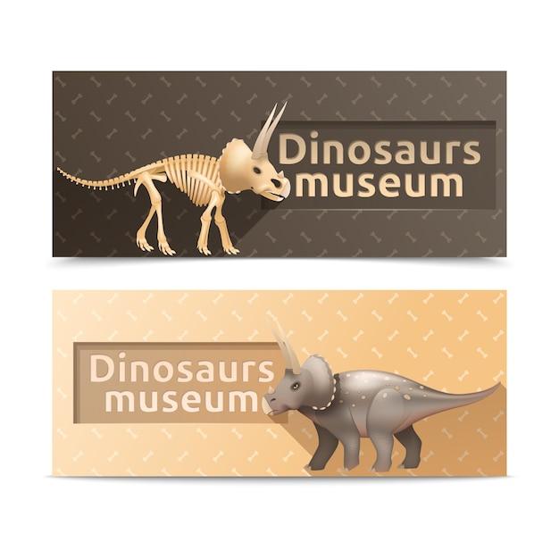 Bannières et assiettes du musée des dinosaures tricératops horizontales Vecteur gratuit