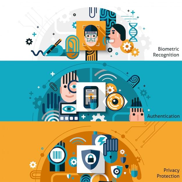 Bannières d'authentification biométrique Vecteur gratuit