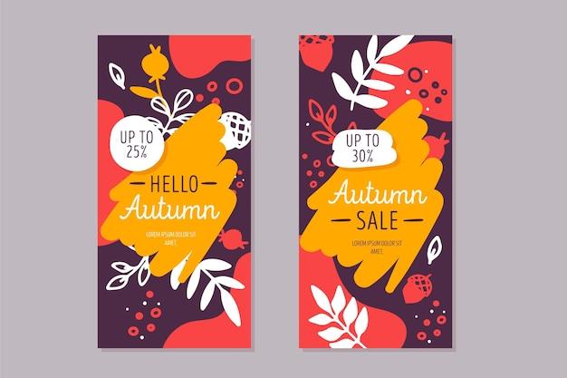 Bannières D'automne Avec Végétation Vecteur gratuit