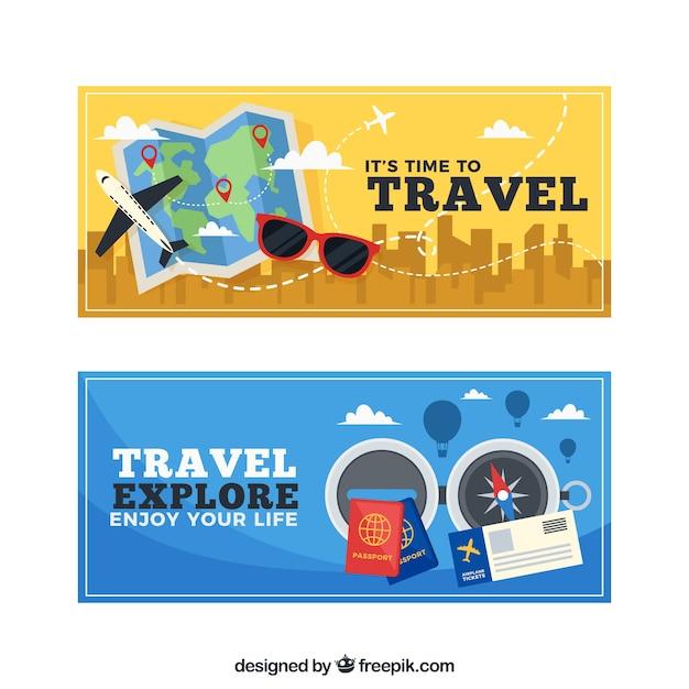 Bannières des aventures de voyageur Vecteur gratuit