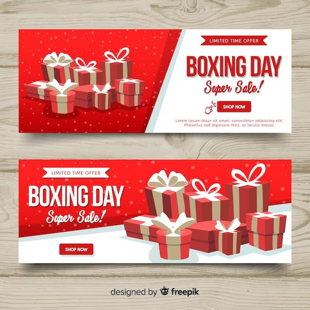 Bannières de belle journée de boxe avec design plat Vecteur gratuit