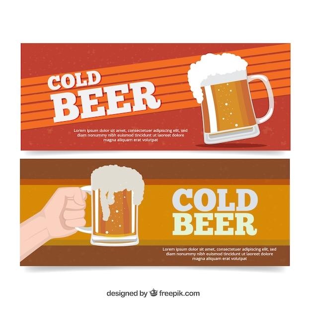 Bannières De Bière Dans Design Plat Vecteur gratuit