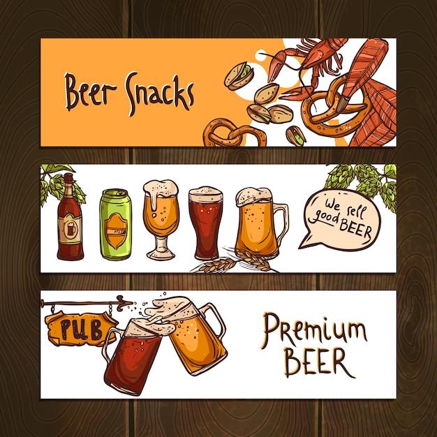 Bannières de bière horizontales Vecteur gratuit