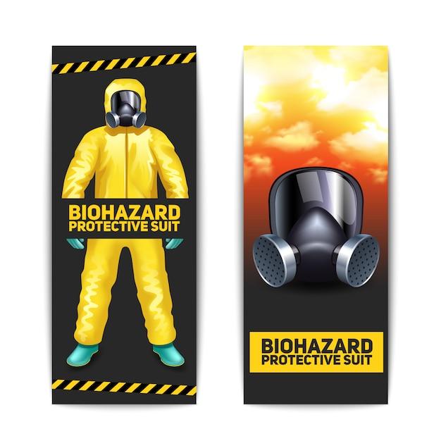 Bannières biohazard avec travailleur en tenue de protection et lunettes de protection Vecteur gratuit