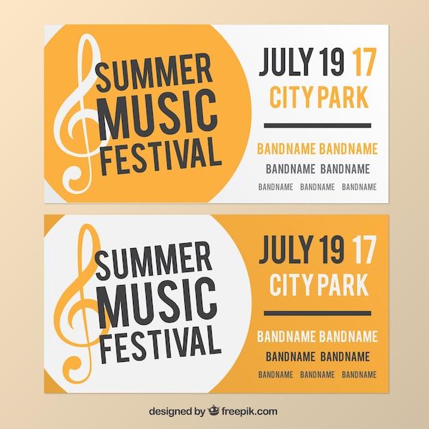 Bannières blanches et jaunes au sujet de festival de musique Vecteur gratuit